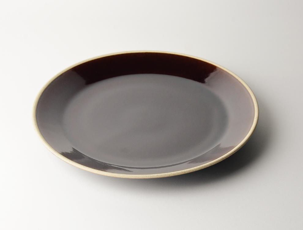 益子伝統釉_飴釉 8寸平皿 イメージ