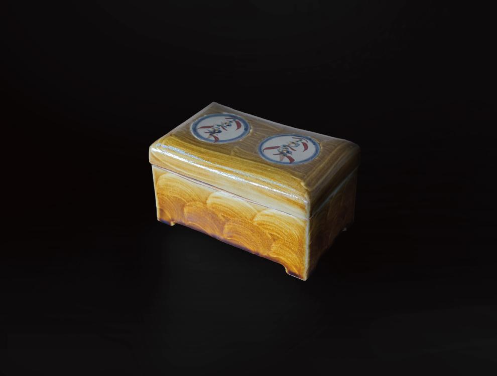 飴釉花紋陶筥 イメージ