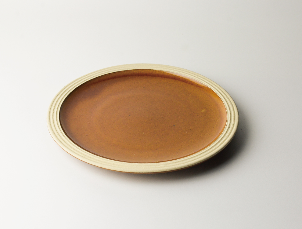 益子伝統釉_飴釉 パン皿 イメージ