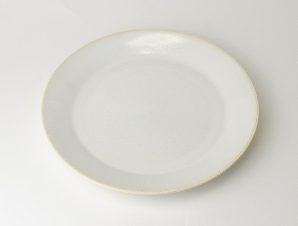 益子伝統釉_糠白釉 8寸平皿のイメージ