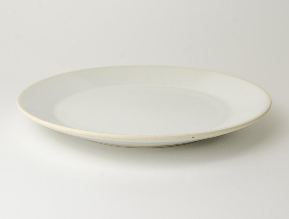 益子伝統釉_糠白釉 8寸平皿 イメージ