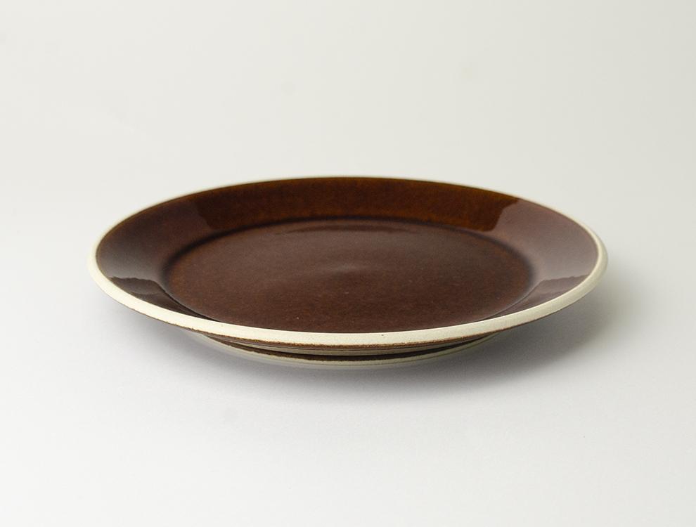 益子伝統釉_飴釉 5.5寸平皿 イメージ