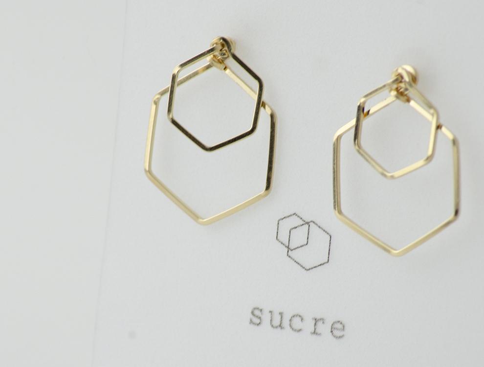 sucre_ピアス_Double六角形 イメージ