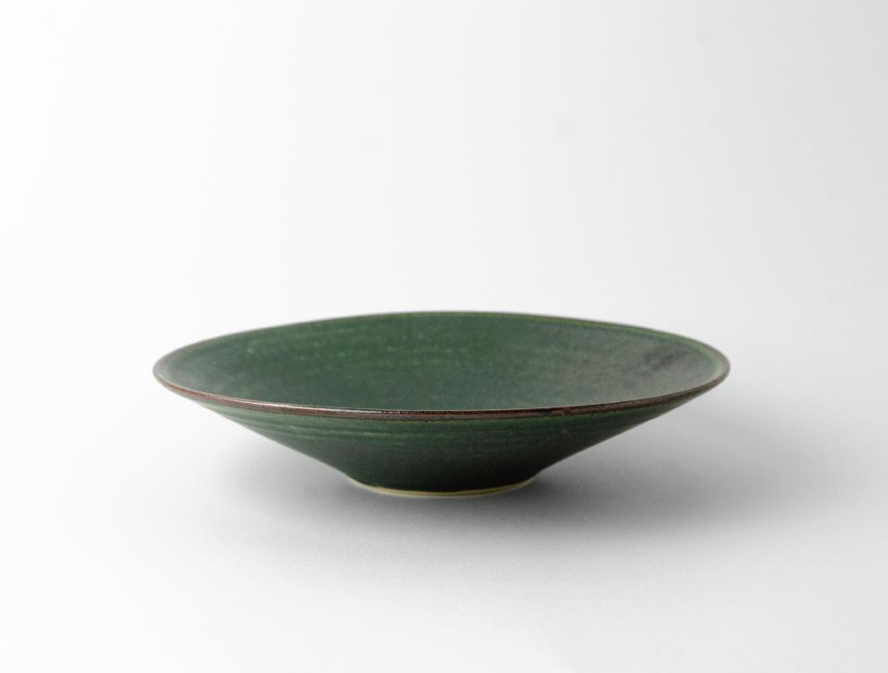 SABI_濃緑 平鉢 中 イメージ