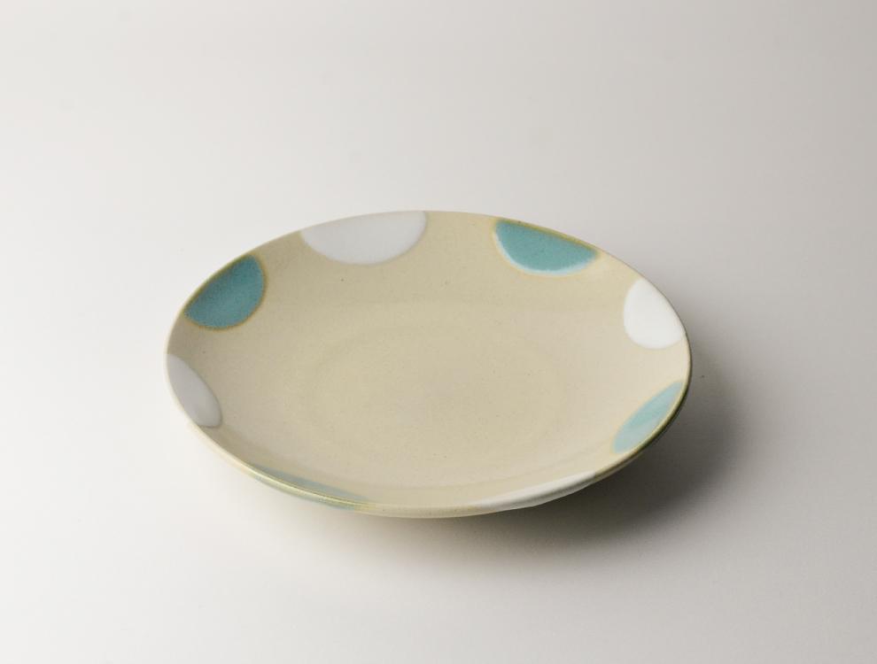 二彩_糠青二彩 6寸丸皿のイメージ