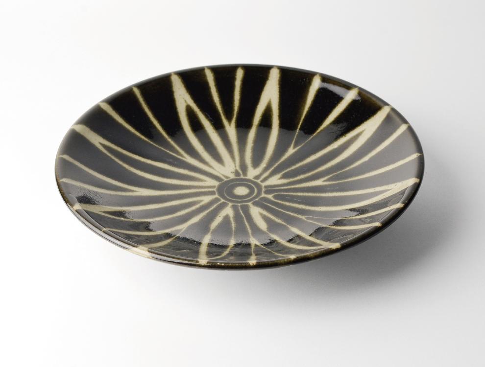 ペルシャ紋_黒ペルシャ紋 8寸丸皿 イメージ