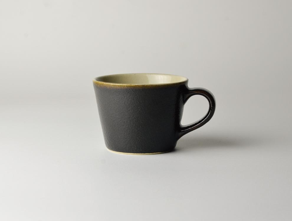 益子伝統釉_ゆず肌黒 コーヒーカップ イメージ