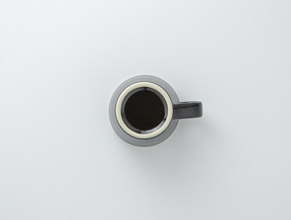 益子伝統釉_ゆず肌黒 コーヒーカップのイメージ