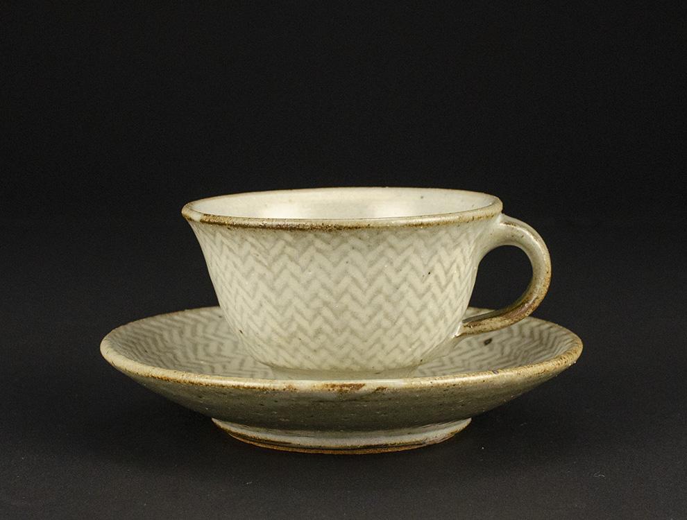 島岡桂_地釉縄文象嵌コーヒー碗皿 イメージ