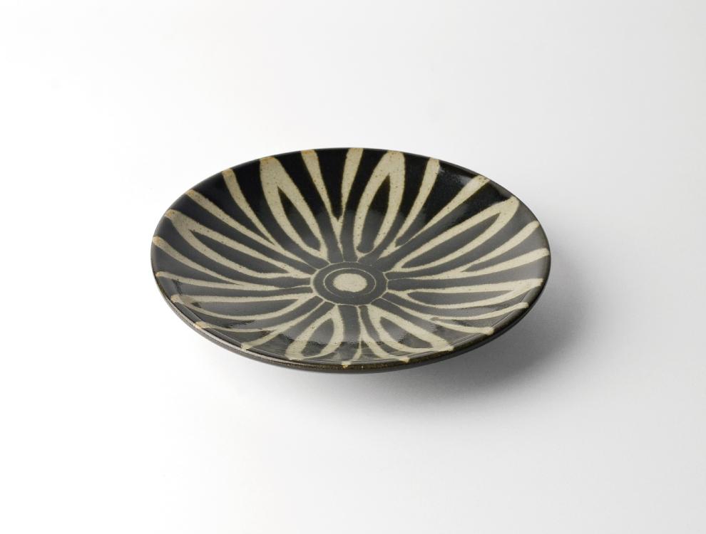 ペルシャ紋_黒ペルシャ紋 6寸丸皿 イメージ