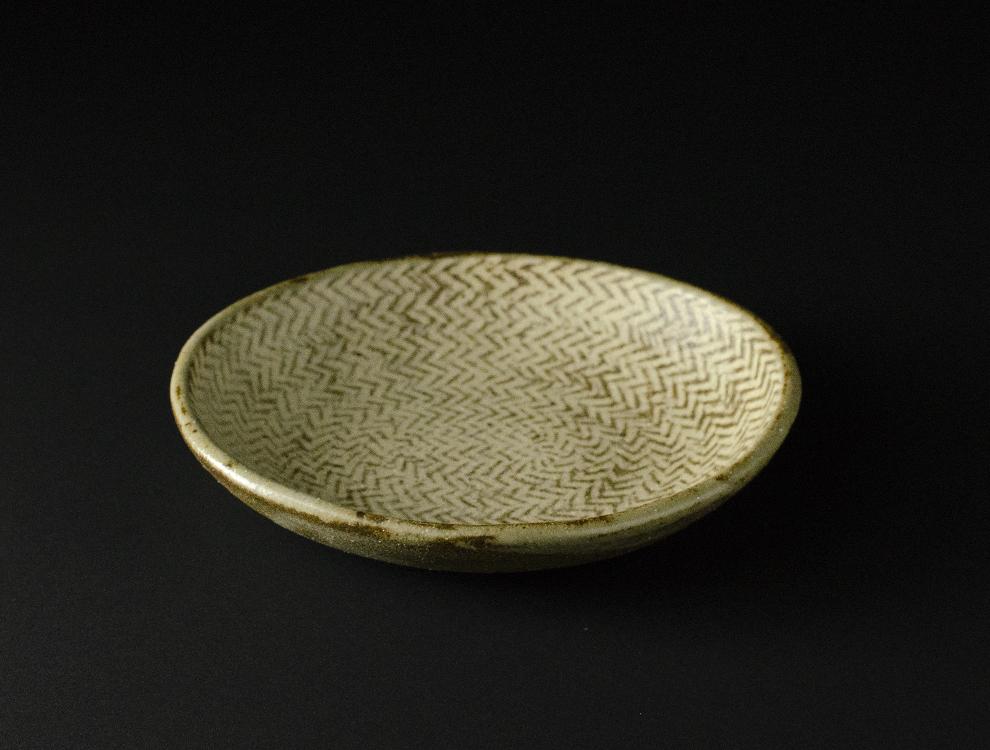 島岡桂_地釉縄文象嵌  楕円皿 イメージ